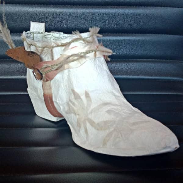 white tissue paper shoe
