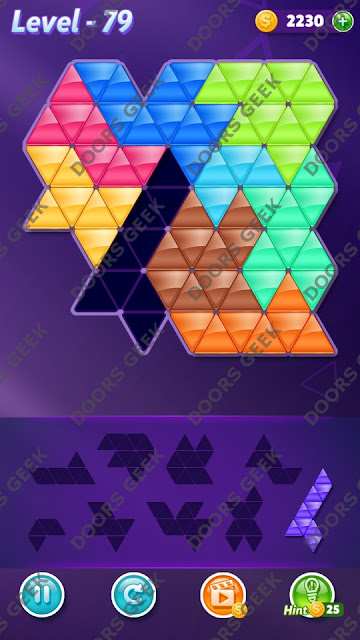 Block! Triangle Puzzle 9 Mania Level 79 Solution, Cheats, Walkthrough for Android, iPhone, iPad and iPod