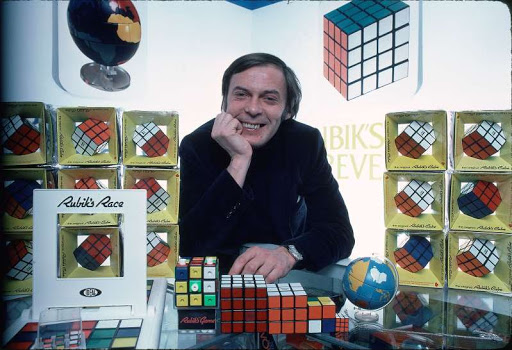 Erno Rubik and his puzzle rubik's cube collection