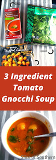3 Ingredient Tomato Gnocchi Soup: a steamy hot bowl of delicious tomato soup loaded with plump gnocchi and a dash of spinach with only 3 ingredients! - Slide of Southern