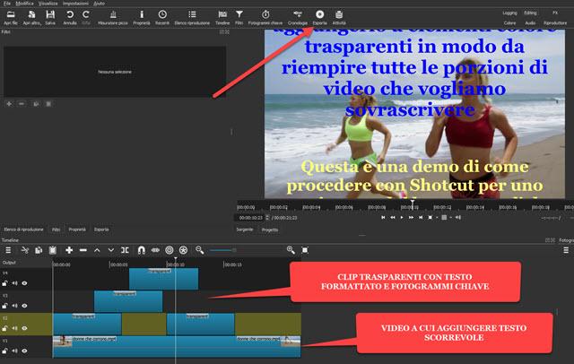 aggiunta di clip trasparenti con keyframe e testo formattato