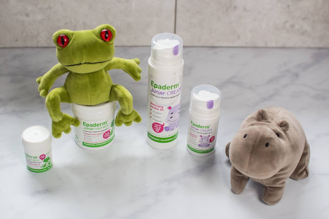 Giveaway prize of 2 bottles of Epaderm Junior Cream, 2 pots of Epaderm Junior ointment, a small Jellycat frog and a small Jellycat Hippo
