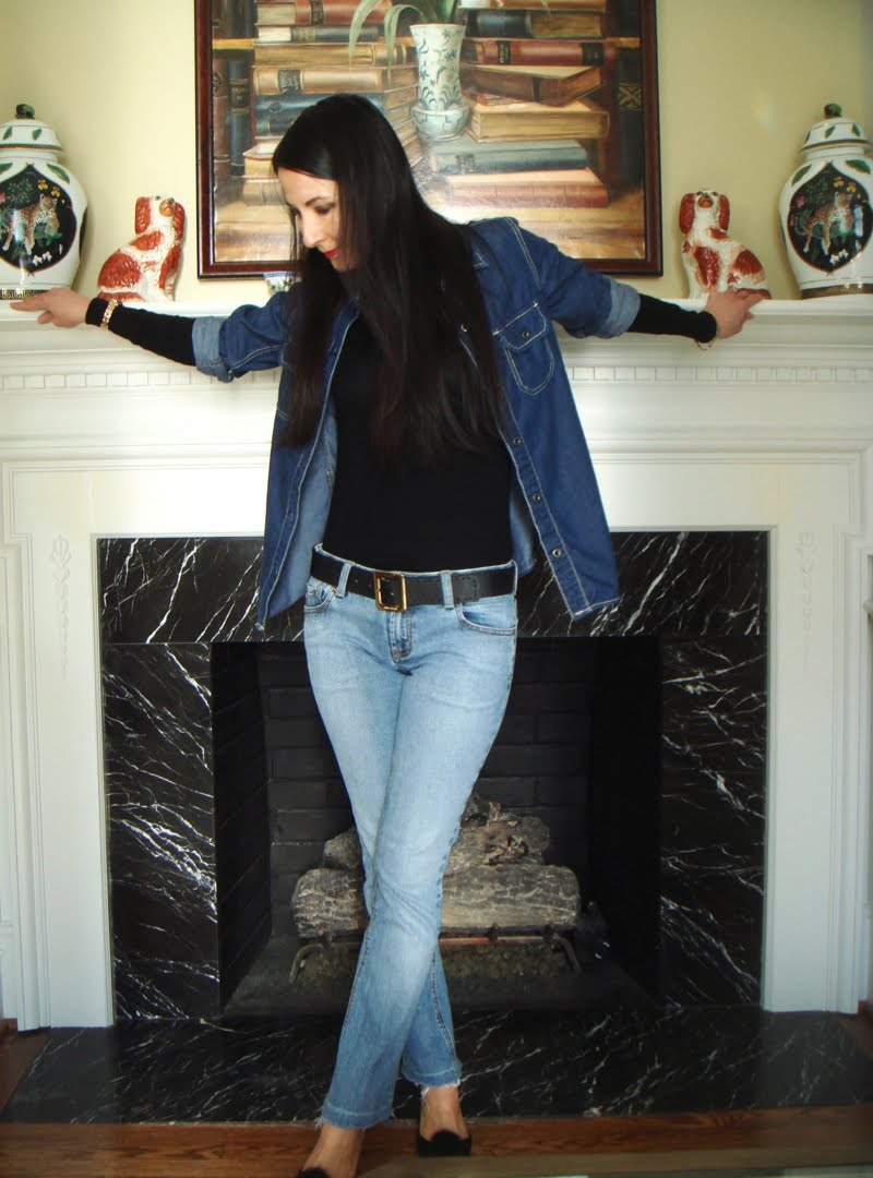 Wearing Denim On Denim Outfit Full Body shot with Head Tilted Down