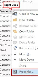 outlook contact properties