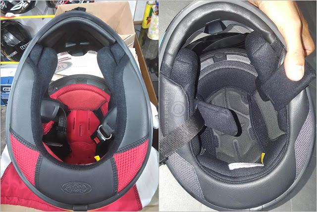 tampak bagian dalam helm kyt rc7 dan r10