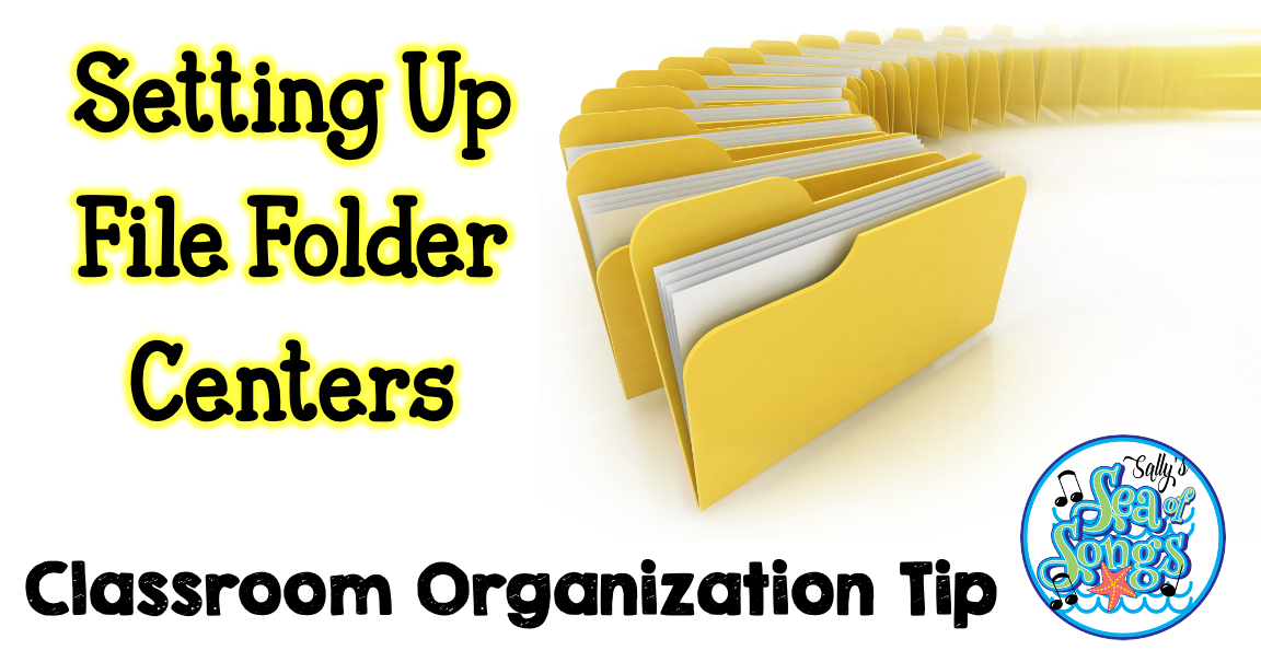 This is a blog post by Sally's Sea of Songs on setting up file folder centers in an elementary music classroom.