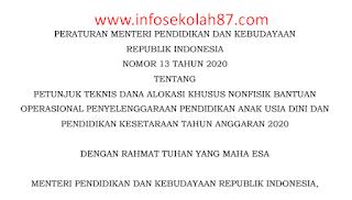Permendikbud Nomor 13 Tentang Juknis BOP PAUD dan Pendidikan Kesetaraan Tahun 2020