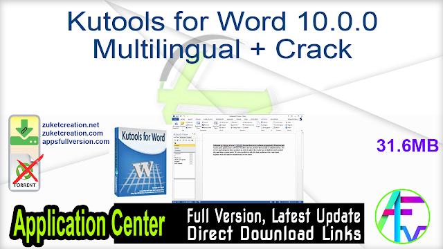 Kutools for Word 10.0.0 Multilingual + Crack