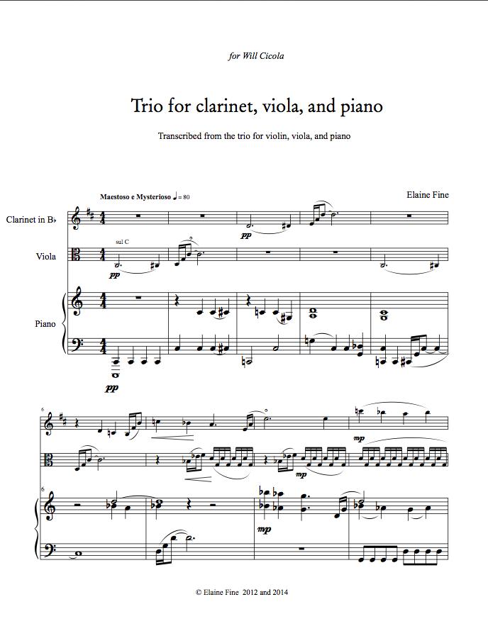 Piano piano trio sheet music : Elaine Fine's Thematic Catalog: Trio for Violin (or Clarinet ...