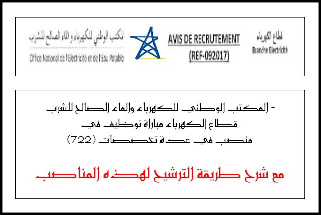 المكتب الوطني للكهرباء والماء الصالح للشرب -قطاع الكهرباء مباراة توظيف في (722) منصب في عدة تخصصات