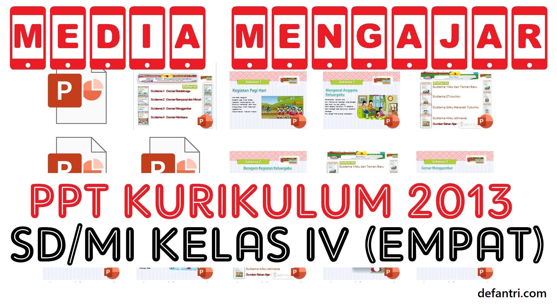 Download Media Pembelajaran PowerPoint Kurikulum 2013 Sekolah Dasar (SD) atau Madrasah Ibtidaiyah (MI) Kelas IV (Empat) Semua Tema