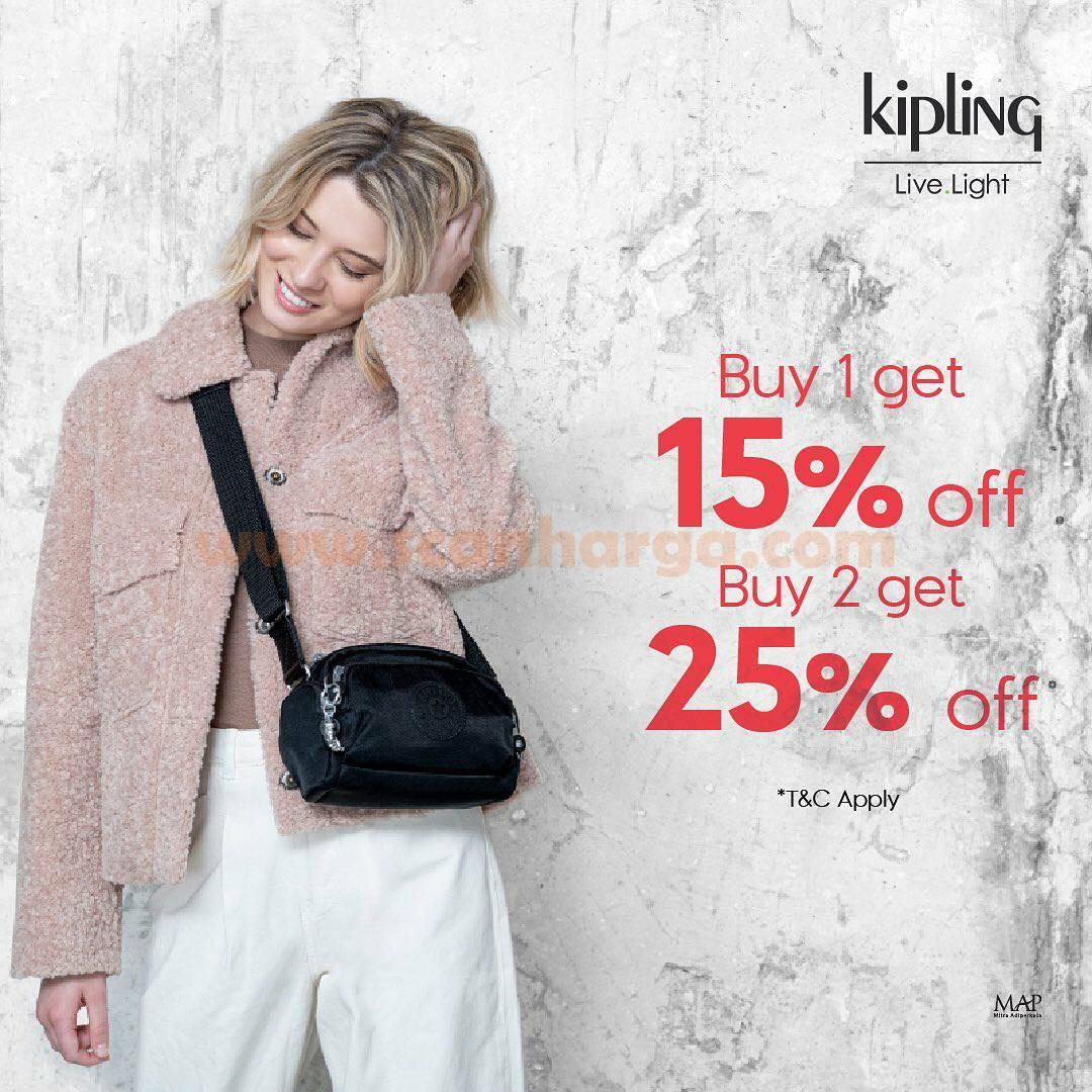 Kipling Bundling Promo! Buy 1 get 15% OFF, buy 2 get 25% OFF in-store