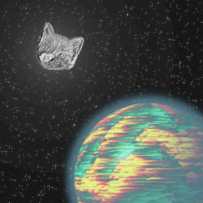 A silver kitten-faced moon shining down on a planet