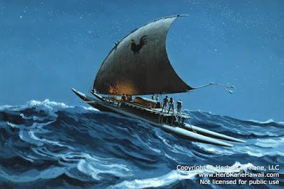 ricostruzione imbarcazione dell'artista hawaiano Herb Kāne