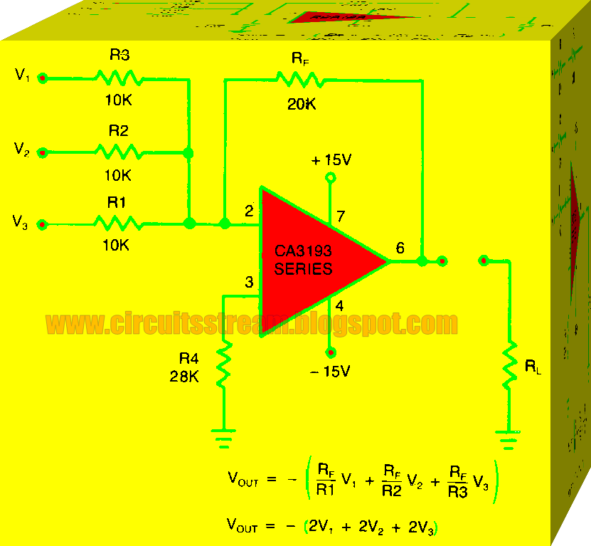 Simple Summing Amplifier Uses CA3193 Circuit Diagram