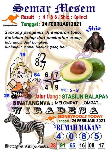 Syair Semar Mesem Sdy Rabu 24 Februari 2021