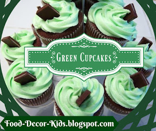green cupcakes and frosting