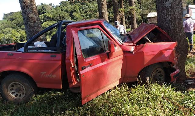 Veículo bate em árvore entre Roncador e Mato Rico