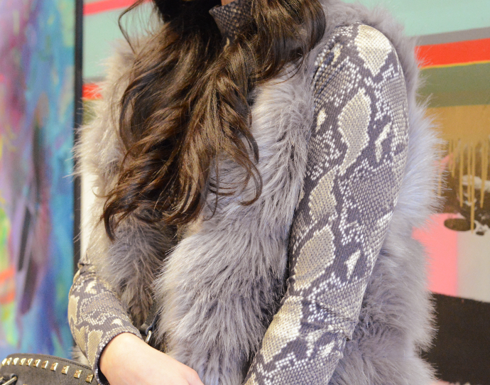 Snake Print, Over The Knee Boots, Faux Fur Vest