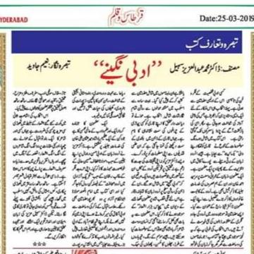 ڈاکٹر عزیز سہیل کی تصنیف ادبی نگینے پر جناب نعیم جاوید صاحب کا تبصرہ