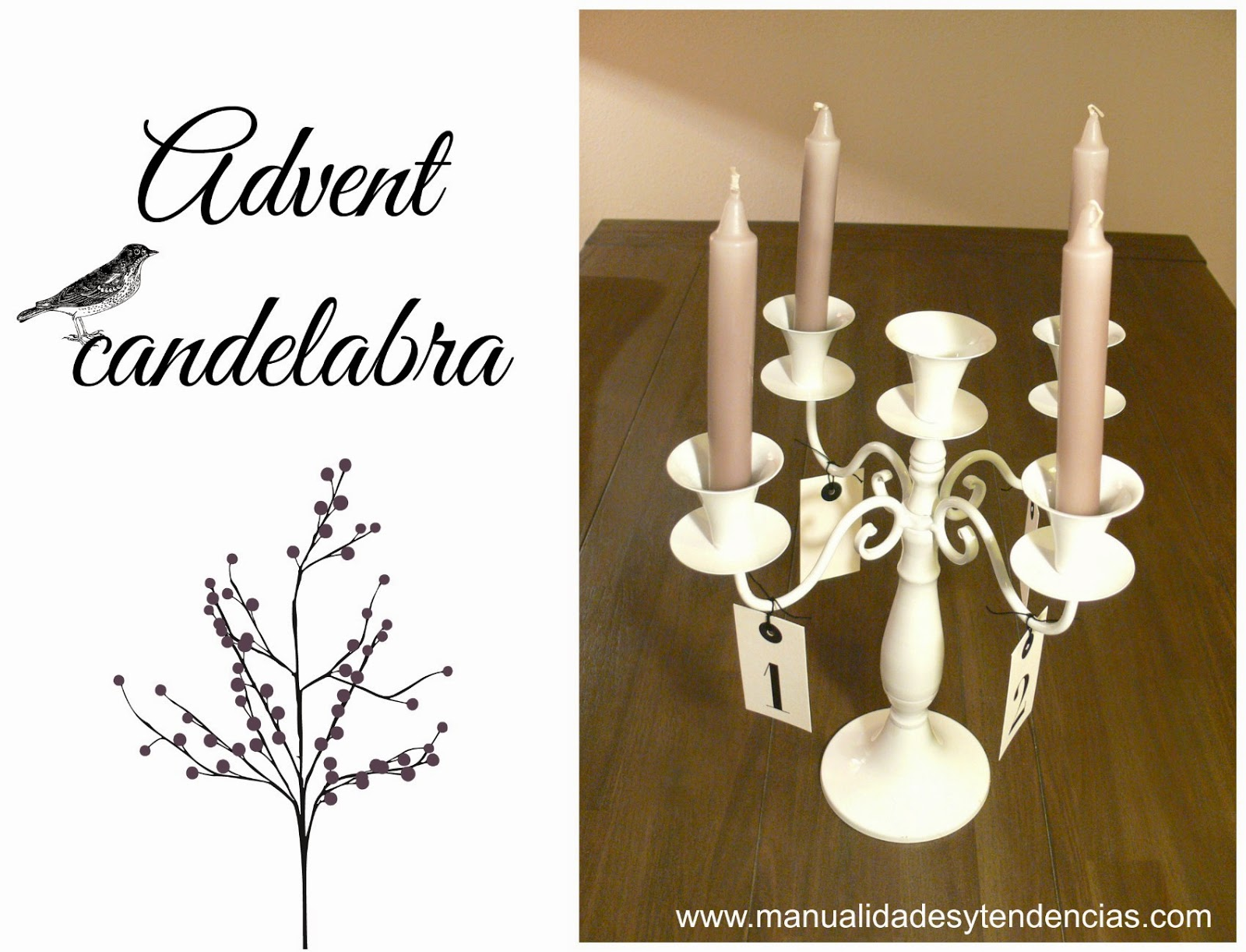 DIY chic advent candelabra