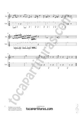 Hoja 4 Ukelele Partitura y Tablatura de Pas de Deux para Ukelele Fingerings with numbers Tabs Sheets Music)