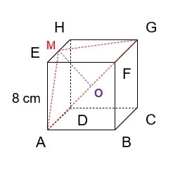 Diketahui kubus ABCD.EFGH dengan rusuk 8 cm. M adalah titik tengah EH. Jarak titik M ke AG adalah