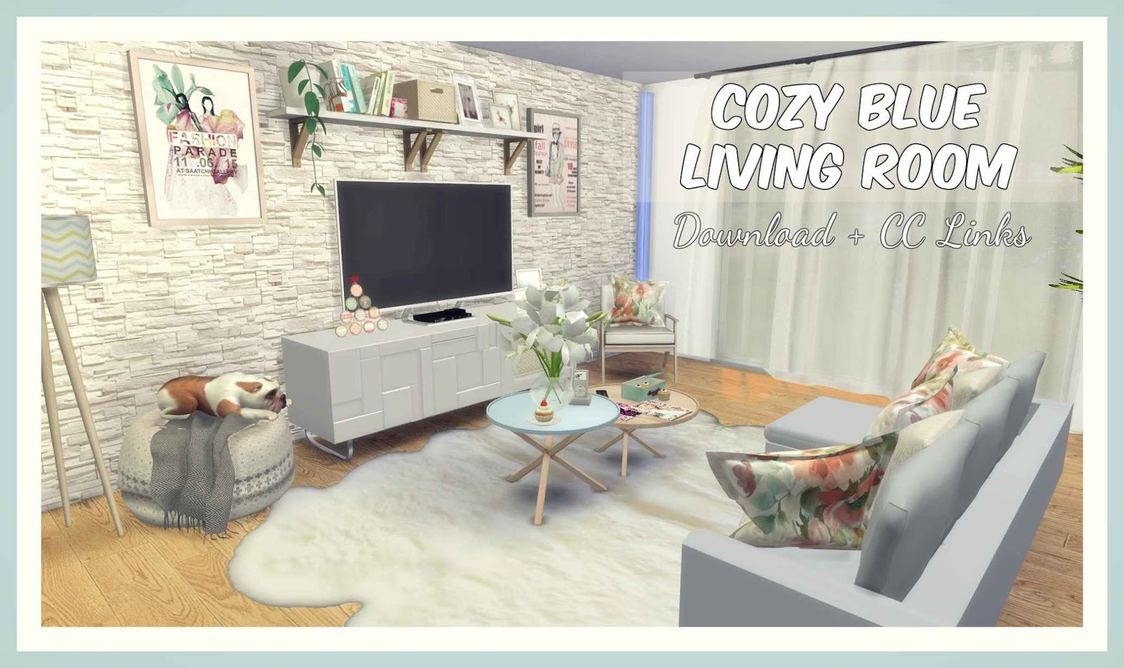 Sims 4 cozy blue living room download cc creators for Living room 4 pics 1 word