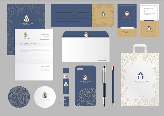 Brand identity sets classic elegant leaves decor Free vector