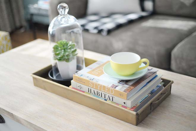 Wayfair Winter Refresh | Brass tray | Table styling | RamblingRenovators.ca