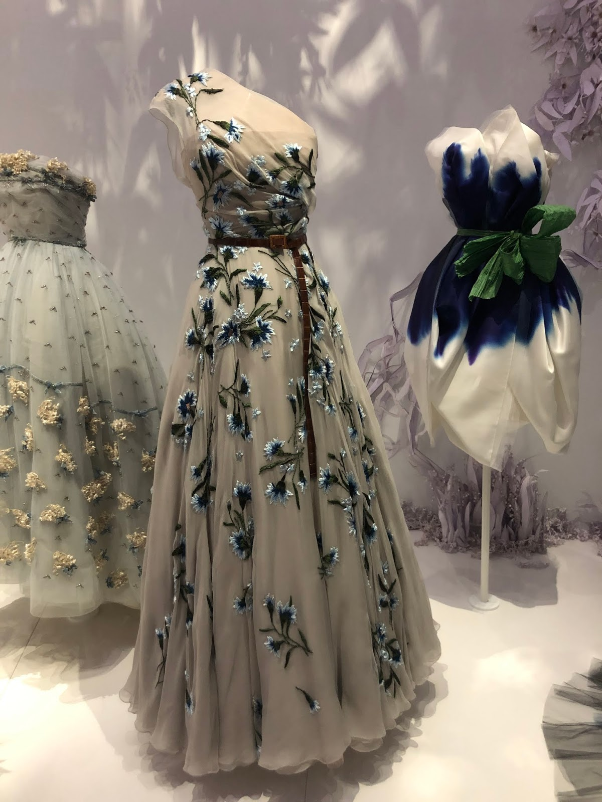 christian dior exhibition v and a embroidered floral dress