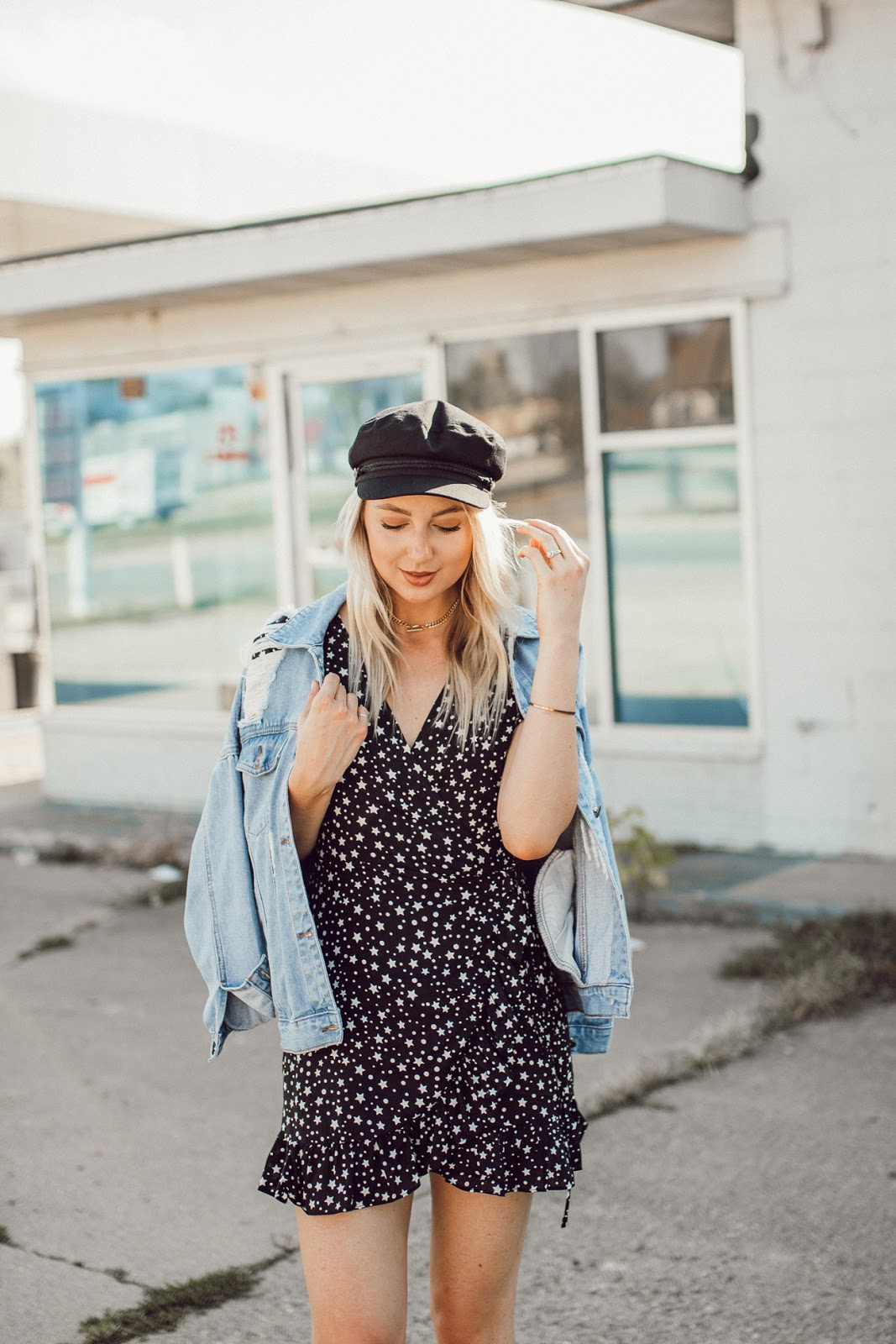 star print dress with a denim jacket