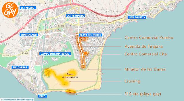 Mapa de zonas de Maspalomas