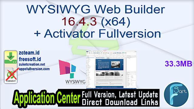 WYSIWYG Web Builder 16.4.3 (x64) + Activator Fullversion