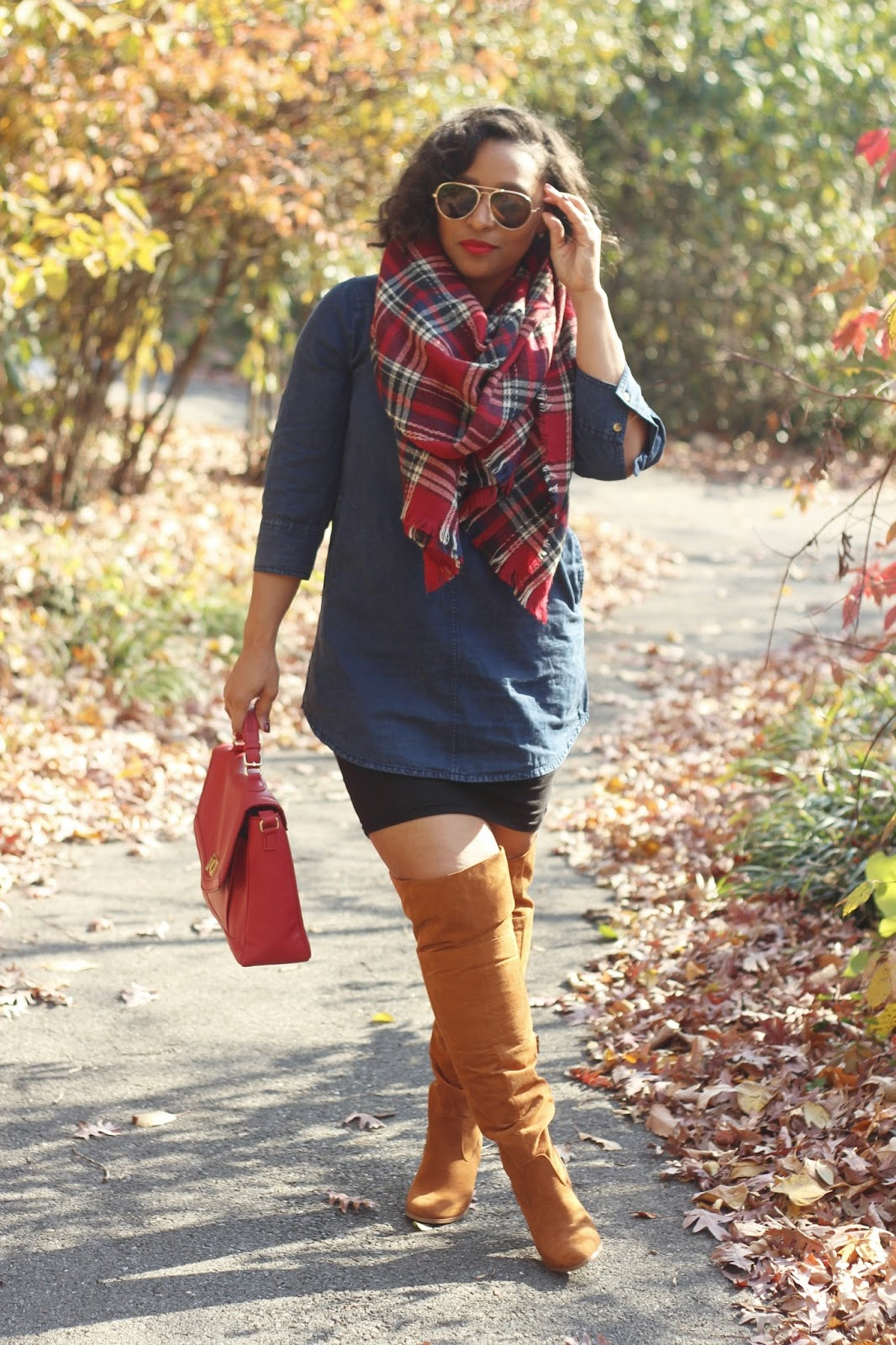 wide calf boots, oak boots, fall outfit ideas, plaid, blanket scarf outfits, Justfab boots