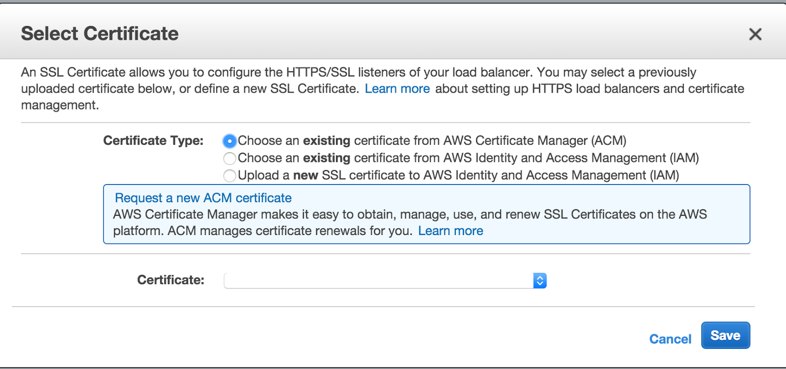 Aws elastic load balancer ssl termination yatb then click change on the ssl certificate this will bring up a screen as shown below and you just select your recently issued certificate from acm xflitez Choice Image