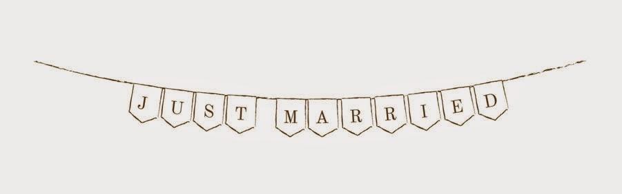 JUST MARRIED フラッグのかたちのガーランド