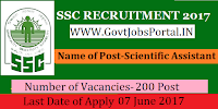 Staff Selection Commission Northern Region Recruitment 2017– 200 Junior Grade of Indian Information Service, Scientific Assistant