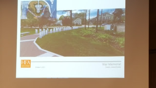 proposed veterans walkway on Town Common - walkway view near WWI doughboy statue