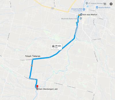 jalur menuju wisata Dam Jati dari arah Madiun