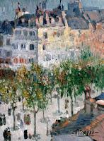 Pablo Picasso's Boulevard de Clichy, painted c. 1881-1973. Famous street in Paris where Picasso's first art studio settled.