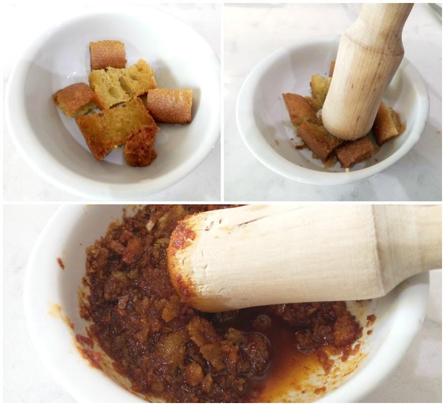 Majado con pan,comino, ajo, pimentón y aceite