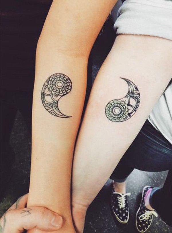 tatuaje de yin yang para amigas
