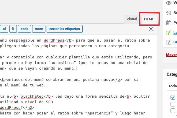 Activar el editor HTML en WordPress