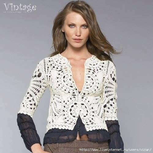 Patrón #1199: Chaqueta Vintage a Crochet