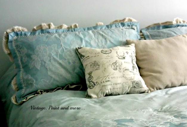 Updated Master Bed - French topography pillow, drop cloth pillow, diy decorative pillows