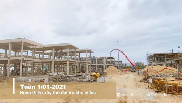 tiến độ thi công dãy villa trong dự án Angsana Residences ngày 01/01/2021