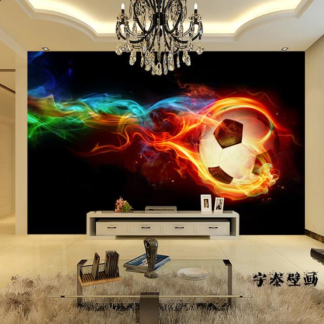häftig tapet fotboll fototapet eld flammor ungdomstapet fondvägg ungdomsrum