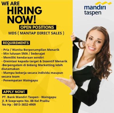 Lowongan Kerja Mandiri Taspen Waingapu Sebagai Mantap Direct sales/MDS