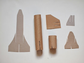 cardboard roll space shuttle craft pieces